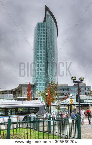 Surrey, British Columbia/canada - October 22: A Skyscraper In Surrey, British Columbia. Surrey Is A