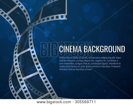 Film Strip Roll Poster. Movie Production With Realistic Blank Negative Film Frames And Text. Vector