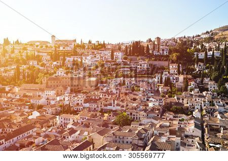 Roofs Of Historical Buildings In Famous District Albaicin In Spanish Granada. Well Known For Its Med