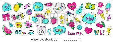 Doodle 90s Stickers. Pop Art Fashion Comic Badges, Trendy Cartoon 80s Kawaii Icons. Vector Lol Rainb