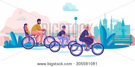 Family Riding Bicycles In Park. Parents And Children Holiday Trip, Trendy Cartoon Characters Doing S