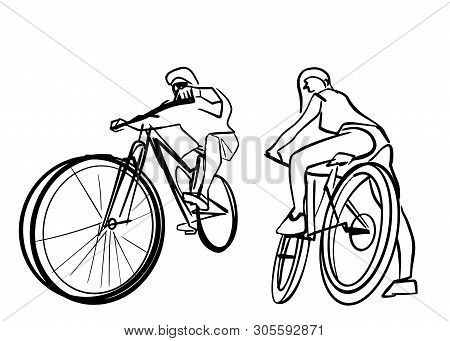 Set Of Male And Female Two Bicyclists On Bicycles. Abstract Isolated Contour. Hand Drawn Outlines. B