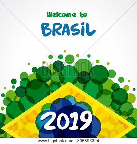 2019 Welcome To Brazil Green Background. World Of Brasil Pattern With Flat Watercolor In Brazilian F