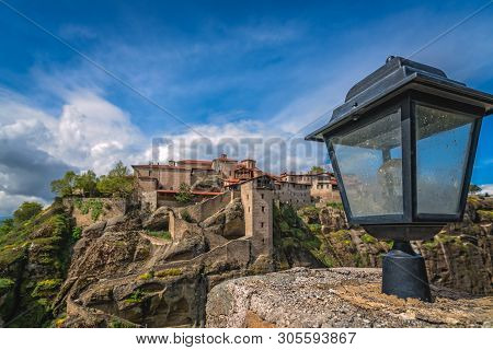 Old Metal Lamp Post In Front Of Holy Monastery Of Great Meteoron In Meteora, Greece