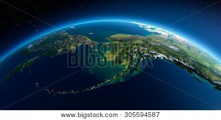 Highly Detailed Planet Earth In The Morning. Exaggerated Precise Relief Lit Morning Sun. Detailed Ea