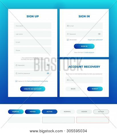 Sign In, Sign Up, Account Recovery. Login Forms With Web Elements In Different Style. Material Desig
