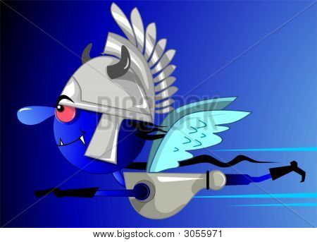 Illustration of fantasy of a flying man in blue background poster