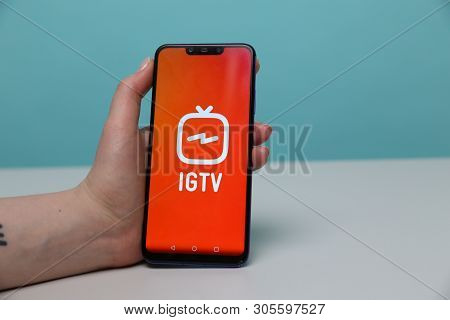 Tula, Russia - May 12 , 2019: Igtv On Phone Display.