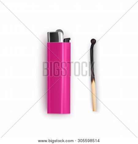 Burnt Match And Lighter Of Pink Color On White Background, Tools For Starting Fire. Small Wooden Sti