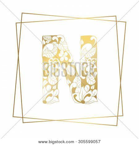 Golden And White Floral Ornamental Alphabet, Initial Letter N Font With Modern Stylized Frames. Abst