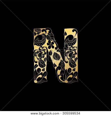 Golden Floral Ornamental Alphabet, Initial Letter N Font. Vector Typography Symbol For Gold Wedding