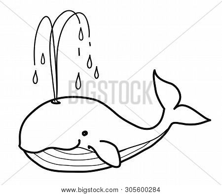Whale Doodle. Simple Black And White Pen And Ink Style Hand Drawn Cute Cartoon Vector Illustration O