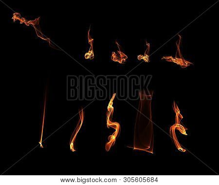 Fire Flame, Smoke, Sparkle Light Or Flake Isolated Overlay On Black Isolated Background Design. Stoc