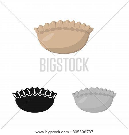 Isolated Object Of Jiaozi And Ravioli Symbol. Set Of Jiaozi And Dough Stock Symbol For Web.