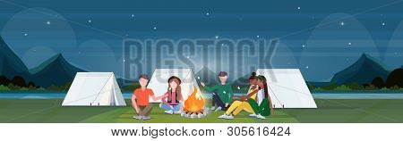 Mix Race Hikers Group Roasting Marshmallow Candies On Campfire Hiking Camping Concept Travelers On H