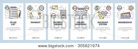 Mobile App Onboarding Screens. Online Shopping, Payment, Todo List, Discount Card, Delivery. Menu Ve