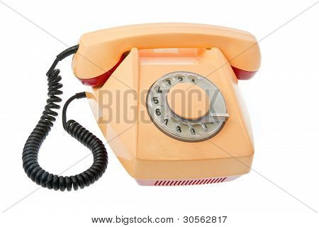 Old Grunge Yellow With Red Telephon