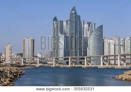 Busan, South Korea - April 2019: Cityscape With Luxurious Skyscrapers Of Marine City In Haeundae Dis