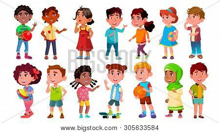 Multicultural Characters Children Kids Set Vector. Design Collection Of International Asian, African