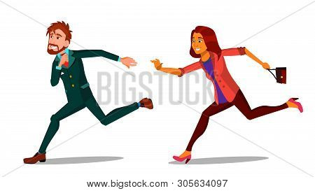 Rush Running Characters Young Man And Woman Vector. Happy Smiling Businessman Male And Female Person