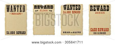 Wanted dead or alive blank poster template with grunge textured typography and ripped vintage faded yellow paper isolated on white background. poster