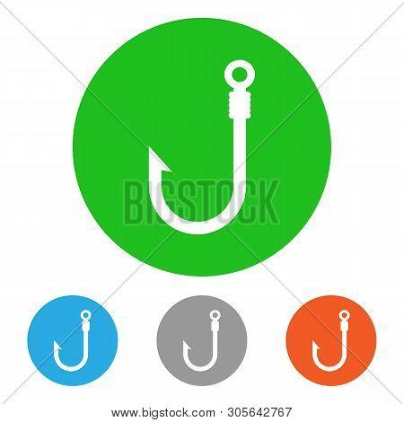 Fishhook Icon Set. Isolated On White Background. Vector Illustration.