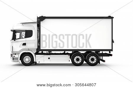 Lateral White Truck Isolated On A White Background: 3d Illustration