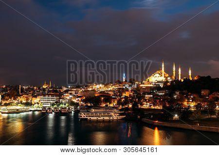 Night City Istanbul. Istanbul Night Landscape. Night View Of The City. Galata Tower, Galata Bridge,