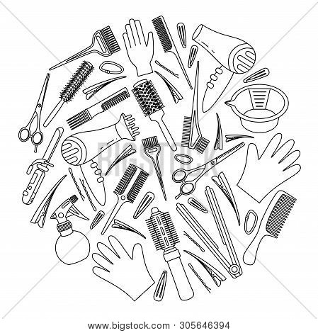 Line art black and white hairdresser tools concept. Decoration for beauty salon. Hair dresser themed vector illustration for certificate, brochure, leaflet, poster or banner background poster