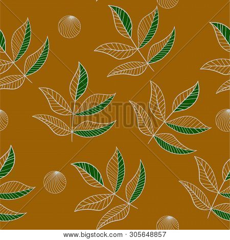 Outline Leaves Seamless Pattern On The Turmeric Color Background. Nature Vector Illustration.
