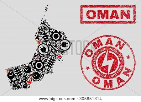 Composition Of Mosaic Power Supply Oman Map And Grunge Stamp Seals. Mosaic Vector Oman Map Is Create