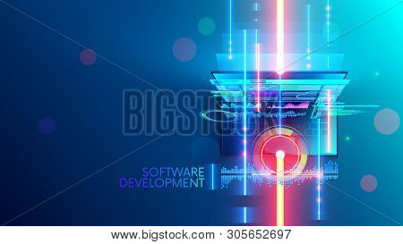 Software Development Conceptual Abstract Banner, Background. Creating Computer Program, Code On Lapt