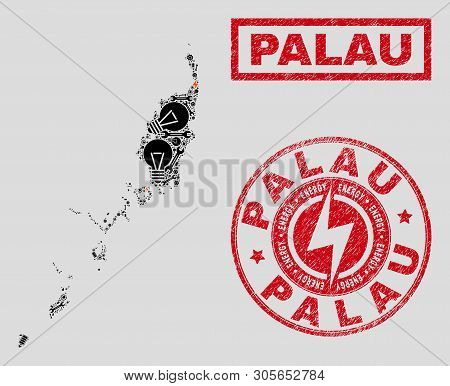 Composition Of Mosaic Power Supply Palau Map And Grunge Stamp Seals. Mosaic Vector Palau Map Is Desi