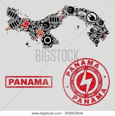 Composition Of Mosaic Power Supply Panama Map And Grunge Stamp Seals. Mosaic Vector Panama Map Is Co