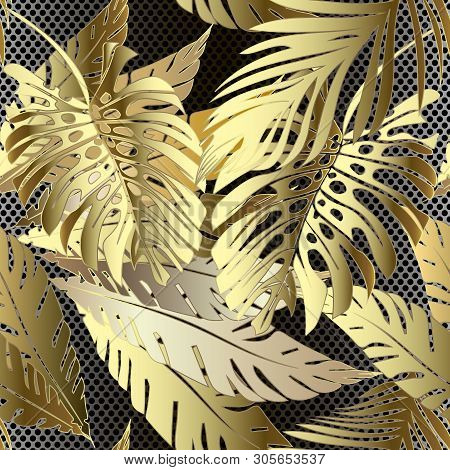 Gold 3d Palm Leaves Vector & Photo (Free Trial) | Bigstock