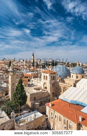Top view of Jerusalem old city, christian quarter and the Church of the Holy Sepulchre