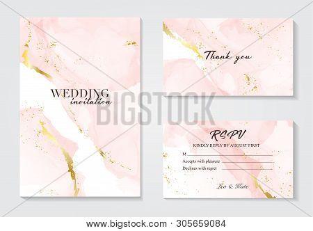 Vector Wedding Invitation Set With Liguid Fluis Background. Rose Gold Foil Marble Decoration Luxury