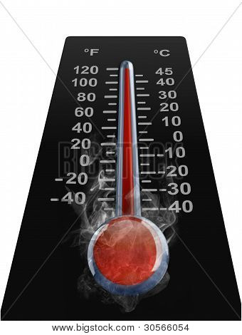 Image of thermometer with high temperature over white poster