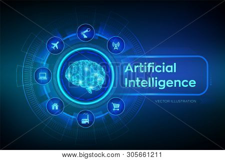 Ai. Artificial Intelligence. Brain. Digital Brain. 3d Science And Technology Concept. Big Data Analy