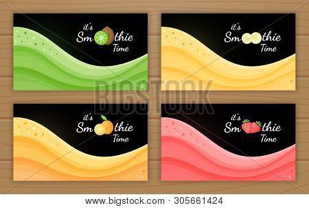 Set Of Smoothie Logo Fruit Cocktail Flat Vector Illustration. Smoothie Logo On Black Background, Wav