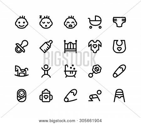 Simple Set Of Baby Related Vector Line Icons. Contains Such Icons As baby, Stroller, Diaper, Pacifie