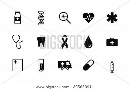 Healthcare And Medical Icons Set. Vector Illustration Icons Health, Cross, Dna, Tablet. Collection M