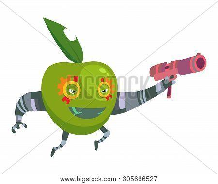 Cartoon Superhero Robot Character Green Apple With Gun Vegetarian Superpower Concept Element Flat De