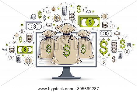 Money Bag Over Computer Monitor And Dollar Icons Set, Online Banking Or Bookkeeping Concept, Interne