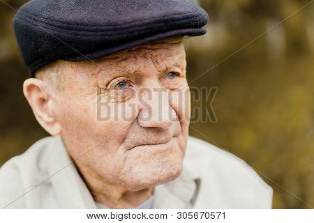 Old Senior Portrait. Grandparent In Hat. 90 Plus Year. Portrait: Aged, Elderly, Loneliness, Man With