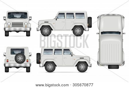 Suv Car Vector Mockup For Vehicle Branding, Advertising, Corporate Identity. Isolated Template Of Re