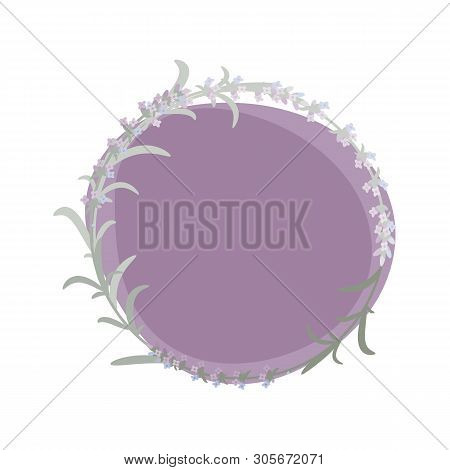 Decorative Vector Background With A Lavender Wreath. Eps 10