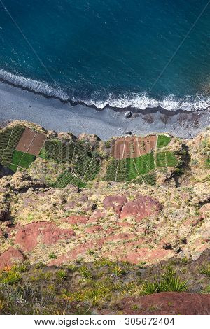 Top View On Cultivated, Wave-cut, Platforms From Cabo Girao Cliff In Madeira Portugal Island