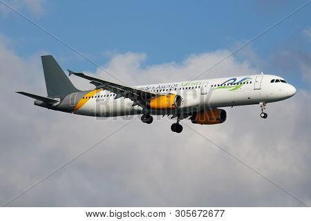 Istanbul / Turkey - March 30, 2019: Sky Angkor Airlines Airbus A321 Xu-722 Passenger Plane Landing A