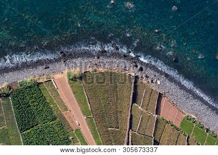 Top View On Cultivated Fields And Coast From Cabo Girao Cliff In Madeira Portugal Island